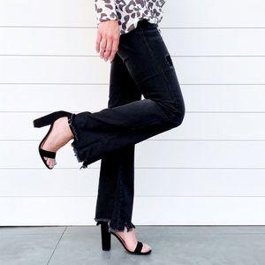 🆕 Veronica Black Distressed Hem Boot Cut Jeans